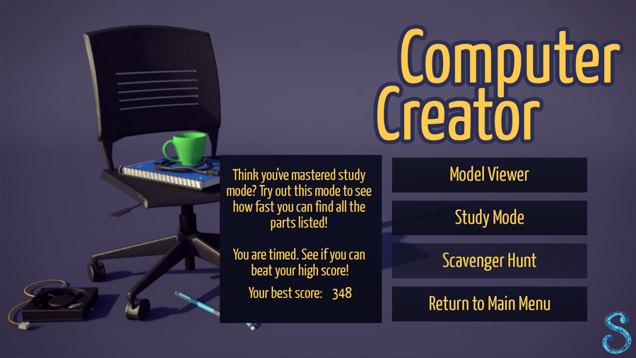 There are three game modes: model viewer, study, and scavenger hunt.